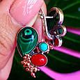 Серебряный комплект серьги и кольцо с малахитом, кораллом, бирюзой, фото 4