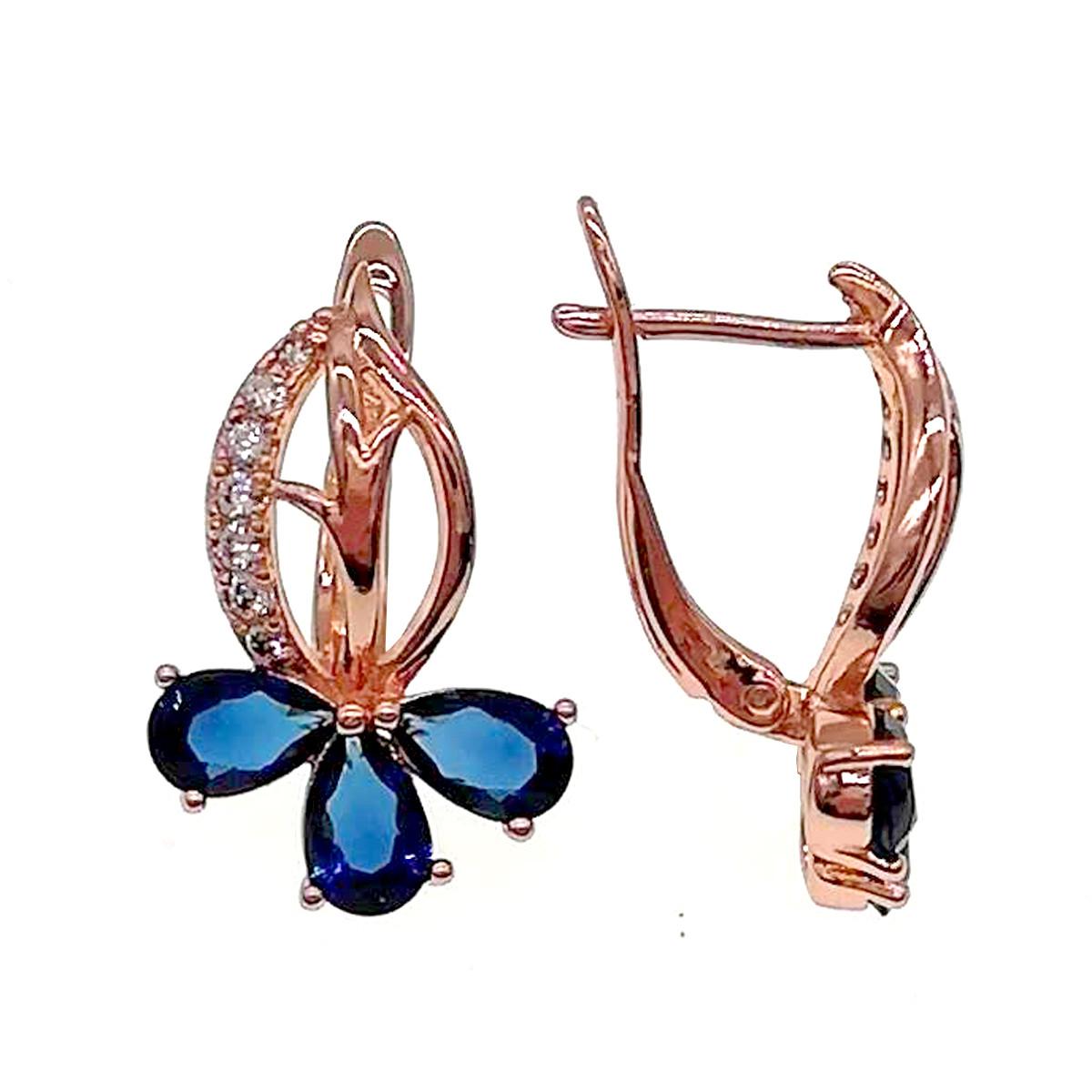 Серьги Xuping из медицинского золота, синие и белые фианиты, позолота PO, 24208       (1)