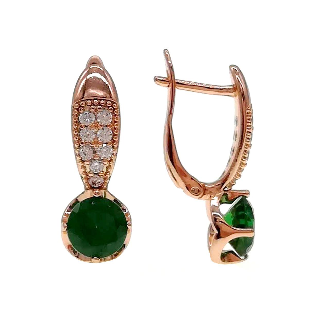 Серьги Xuping из медицинского золота, зеленые и белые фианиты, позолота PO, 24213       (1)