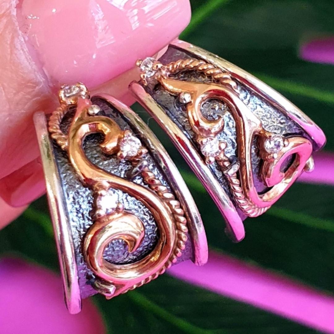 Розкішні срібні сережки з золотом, чорнінням і фіанітами