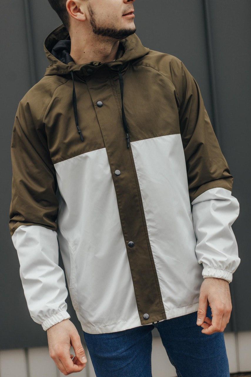 Мужская ветровка хаки с белым 069