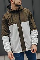 Мужская ветровка хаки с белым 069, фото 1