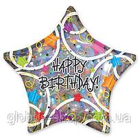 """Шар Звезда """"HAPPY BIRTHDAY"""", 44 см, фольгированный"""