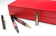 Набор ручек Picasso чернильная+капиллярная в красном кожаном пенале Picasso 988 DUO