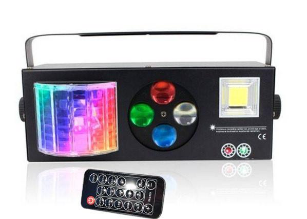 LED прибор светомузыка 4в1 с пультом ДУ. Лазер, шар, строб, трафареты