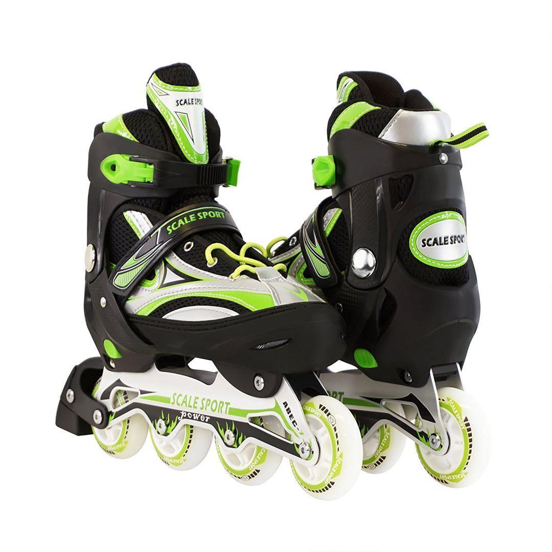 Раздвижные Роликовые коньки детские Scale Sports Черно-зеленые р.41-44 (SD)