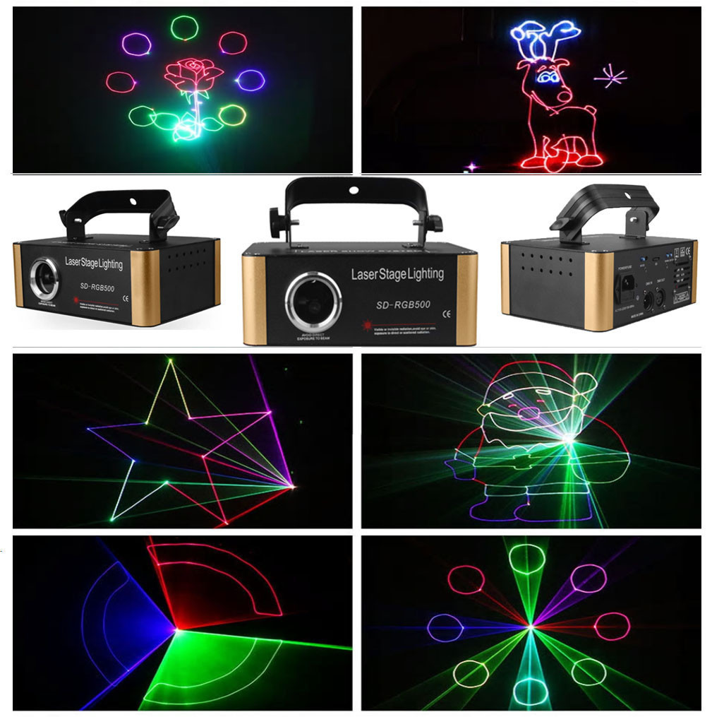 Лазерный диско проектор 500 mW RGB с эффектом 3D с SD card