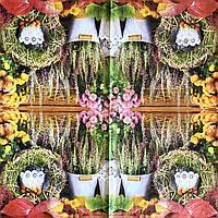"""Салфетка декупажная 33x33 см 18 """"Винтаж ретро Цветы Прованс в горшках Лаванда венок"""" Серветка для декупажу"""
