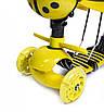 Самокат детский Scooter Божья коровка 5в1 Со святящимися колесами Желтый (SD), фото 3