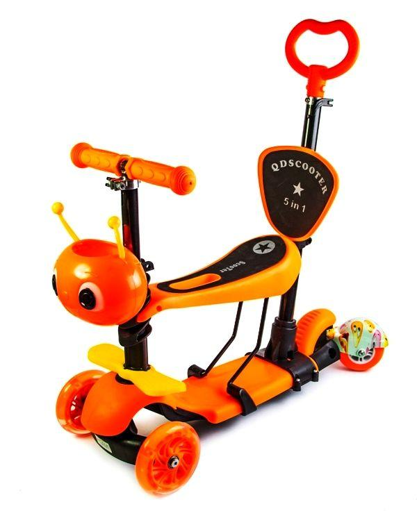 Самокат детский Scooter Пчелка 5в1 с родительской ручкой Оранжевый (SD)