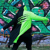 Мантия унисекс двухцветная Пушка Огонь Scratch черно-зеленая