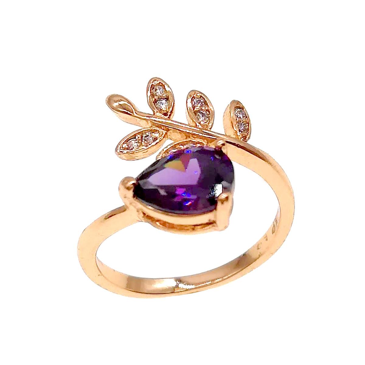 Кольцо Xuping из медицинского золота, фиолетовые и белые фианиты, позолота 18К, 11824       (15)