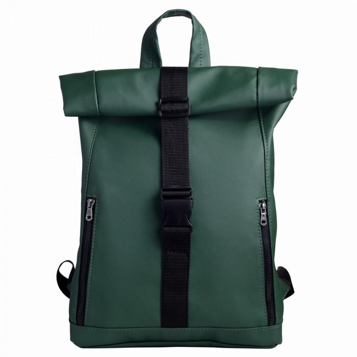 Модный большой женский рюкзак роллтоп темно-зеленый экокожа (качественный кожзам)