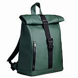 Модный большой женский рюкзак роллтоп темно-зеленый экокожа (качественный кожзам), фото 3