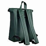 Модный большой женский рюкзак роллтоп темно-зеленый экокожа (качественный кожзам), фото 2