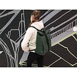 Модный большой женский рюкзак роллтоп темно-зеленый экокожа (качественный кожзам), фото 4