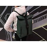 Модный большой женский рюкзак роллтоп темно-зеленый экокожа (качественный кожзам), фото 7
