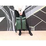 Модный большой женский рюкзак роллтоп темно-зеленый экокожа (качественный кожзам), фото 5