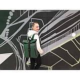 Модный большой женский рюкзак роллтоп темно-зеленый экокожа (качественный кожзам), фото 9