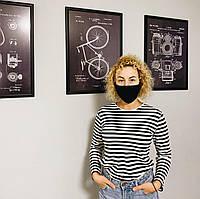 Защитная маска многоразовая хлопковая с 5 фильтрами черная
