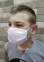 Защитная маска белая трехслойная тканевая