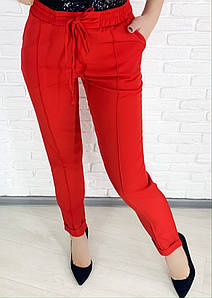 """Стильные женские брюки на резинке """"Kama"""" с карманами (большие размеры)"""