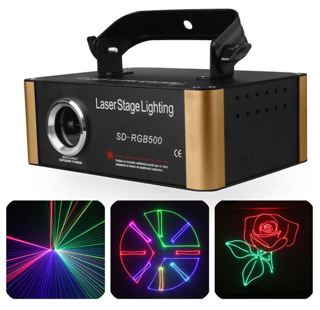 Анимационный лазерный проектор 500 mW RGB 3D с SD card для дискотек