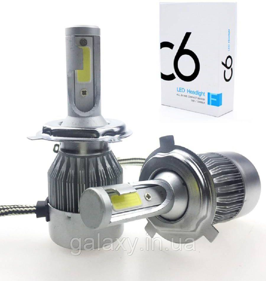 Лампы автомобильные светодиодные C6H4 комплект 2 штуки 3800lm 6000К LED лампы цоколь H4