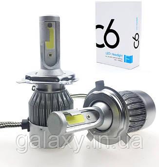 Лампы автомобильные светодиодные C6H4 комплект 2 штуки 3800lm6000К LED лампы цоколь H4