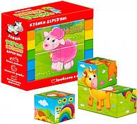 Дерев'яні кубики Vladi Toys Ферма укр (ZB1001-01)