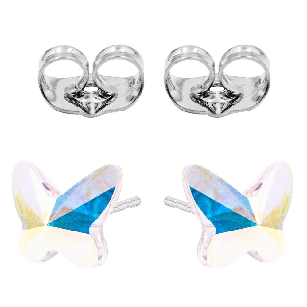 Сережки-гвоздики Swarovski Метелик срібло 925