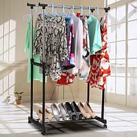 Вешалка стойка для одежды напольная двойная телескопическая на колесиках Double Pole