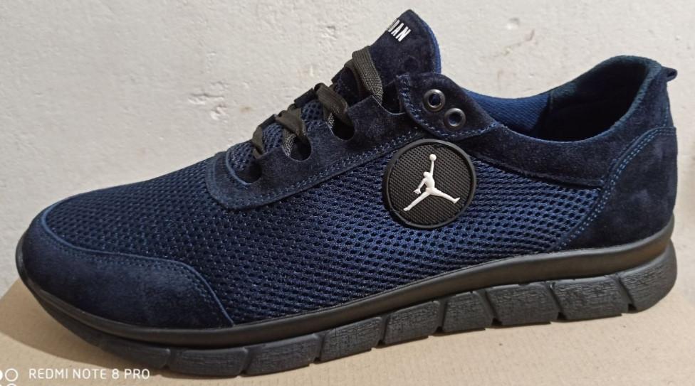46-50 р! Jordan синие кроссовки мужские летние  с сеткой и кожей большого размера Джордан