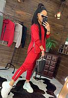 Женский брючный костюм со свободной кофтой и зауженными штанами с молниями r44KO503