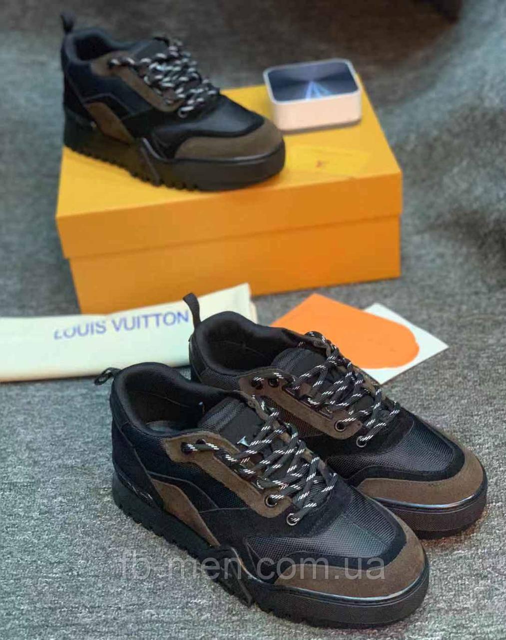Кроссовки Louis Vuitton|Низкие кожаные кроссовки Луи Виттон мужские серого цвета замшевые с кожаными вставками