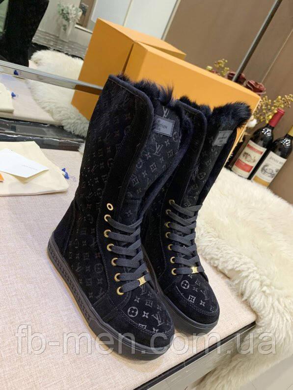 Ботинки Louis Vuitton|Женские кожаные ботинки Луи Виттон на меху черного цвета замшевые