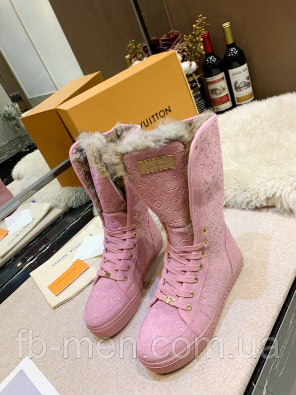 Кроссовки Louis Vuitton Женские розовые ботинки на меху Louis Vuitton Луи Виттон