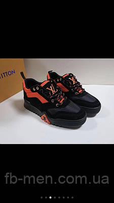 Кроссовки Louis Vuitton|Кроссовки мужские женские Луи Виттон кожаніые с замшевыми вставками оранжевый логотип