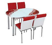 """Розкладний обідній кухонний комплект овальний стіл і стільці """"Троянда пелюстки"""" ДСП гартоване скло 75*130 Лотос-М"""