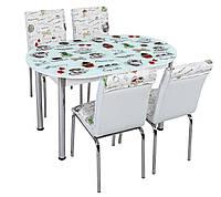 """Розкладний обідній кухонний комплект овальний стіл і стільці """"Чайнички"""" ДСП гартоване скло 75*130 Лотос-М"""
