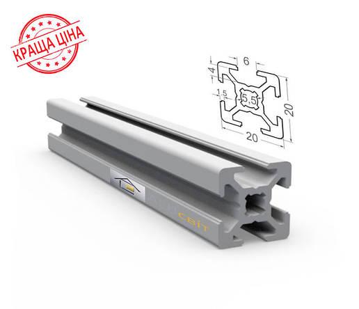 Алюминиевый конструкционный станочный профиль 20х20 анодированный, фото 2