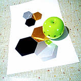 Комплект акрилових дзеркал «Соти» 50 шт. 46×40×23×1 мм срібло, фото 9