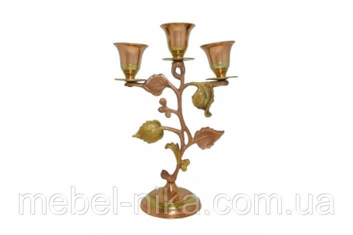 Подсвечник латунный с листочками на 3 свечи (пл-79)