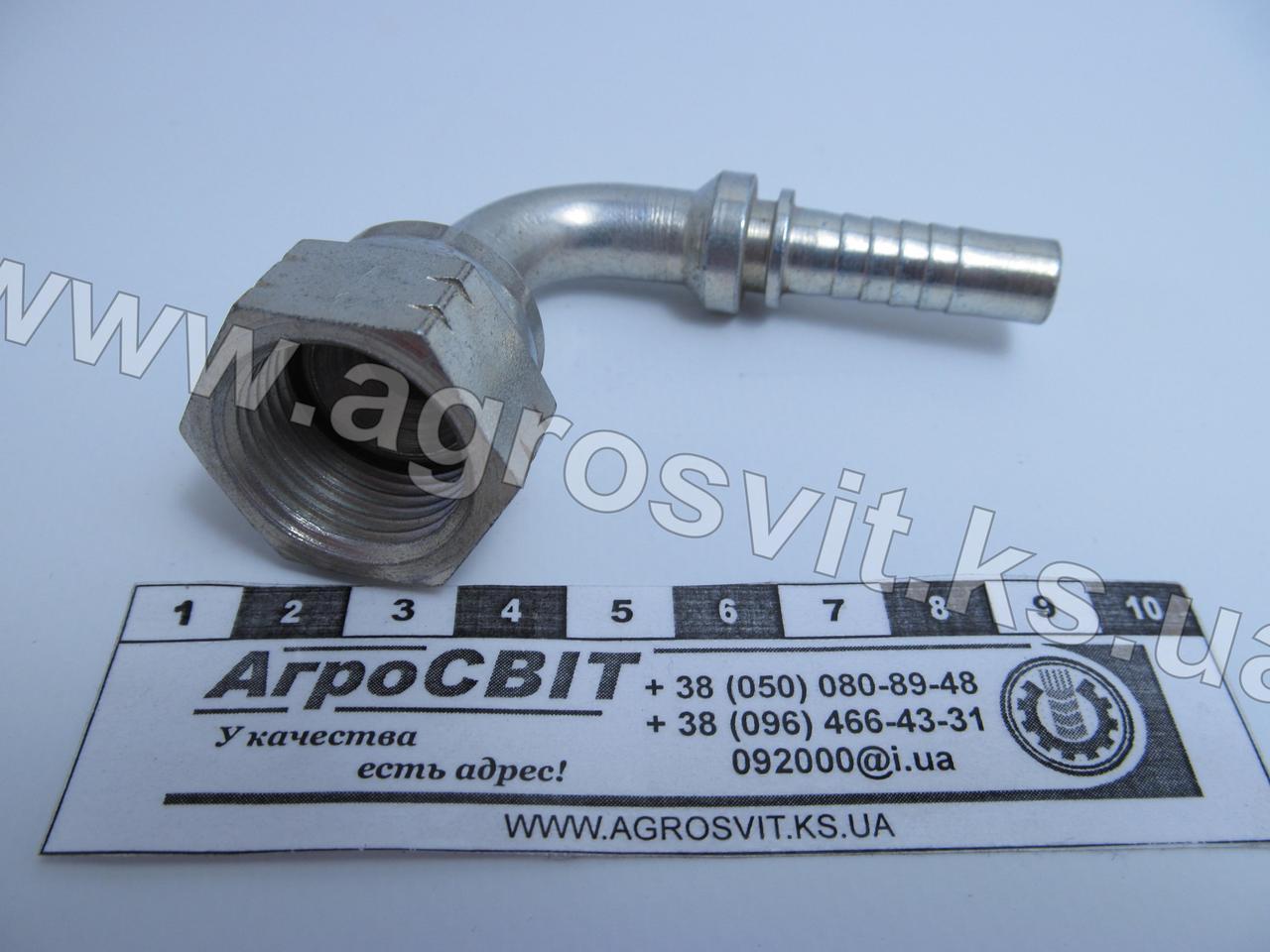 """Ниппель DKJ 7/8""""-14  под шланг dу=10 мм. (угол 90 °)"""