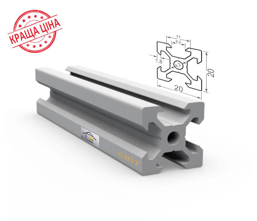 Алюминиевый конструкционный станочный V-образный профиль 20х20 без покрытия