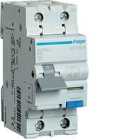 Дифференциальный автоматический выключатель 1P+N 6kA B-10A 30mA A Hager