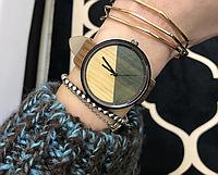 Оригинальные женские наручные часы с имитацией под дерево «Wood watch» в коричневом корпусе
