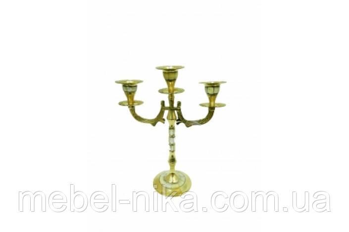 Подсвечник латунный на 3 свечи с перламутром, 23см (ФА-пл-26)