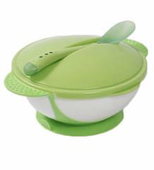 Тарелка для кормления Lindo на присоске с крышкой и термоложкой (Premium А-50)