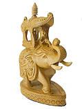Слон из желтого дерева с наездником и львом (сд-39), фото 2